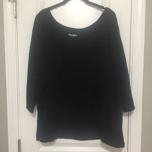 Old Navy black XXL ballet 3/4 sleeve tee T-shirt